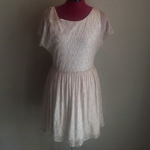 Anthropologie Dress Pink Blush Dots And Off White